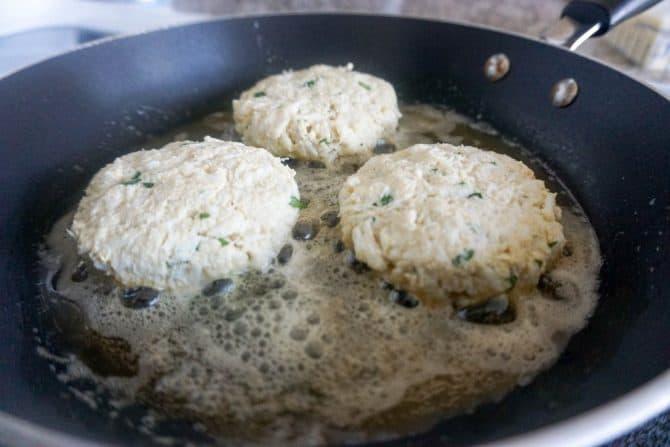 keto crab cakes in pan