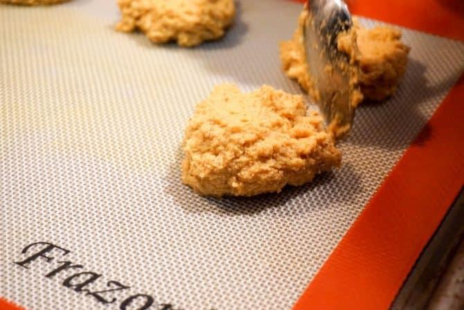 gluten free pumpkin cookies spooning dough