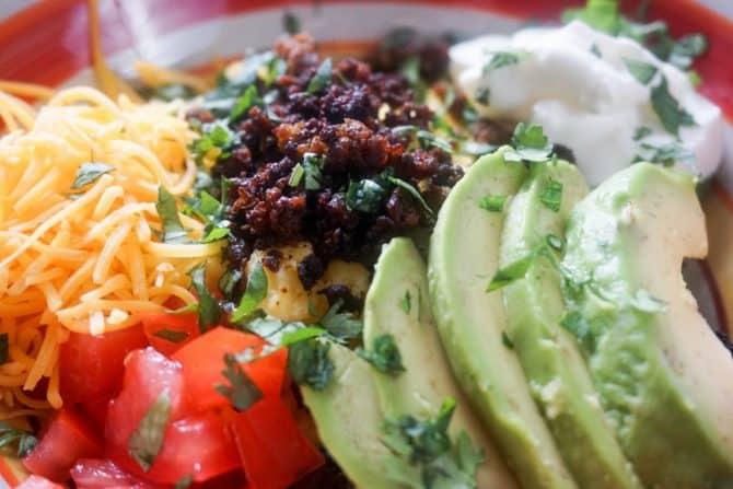 mexican breakfast bowl closeup