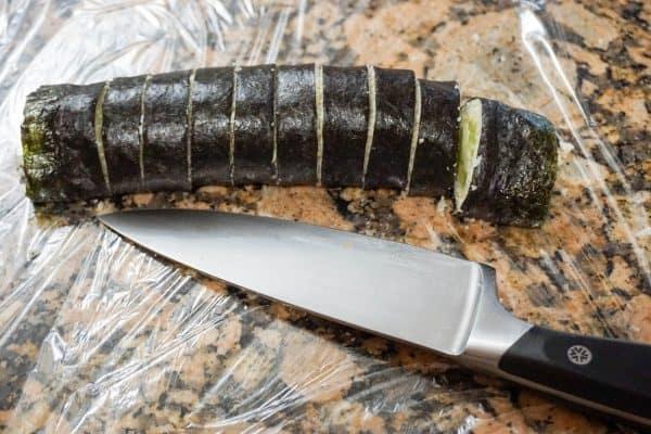 keto sushi roll cut