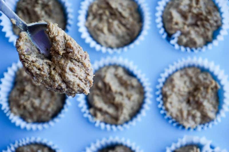 high fiber muffins spoon batter